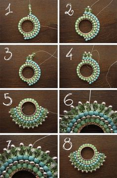 brick stitch DIY, Free tutorial Earrings or pendant Fourth Round and Finishing // brick stitch Earring tutorial {in Russian - will need translating} ******Brick Stitch on a Component Sunburst tutorial- looks quite easy. part 2 of legendary beads sunburst Seed Bead Tutorials, Jewelry Making Tutorials, Beading Tutorials, Beading Ideas, Beaded Jewelry Patterns, Beading Patterns, Bracelet Patterns, Motifs Perler, Earring Tutorial