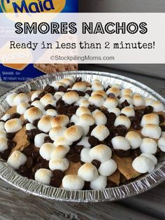 S'mores Nachos - ready in 2 minutes or less with no fire!  Your family will love them! Can easily be gluten free too. #smores
