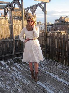 winter white on white [pleated skirt]