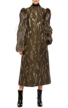 Fur Sleeve Metallic Floral Coat by SUNO Now Available on Moda Operandi