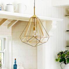 Large Diamond Brass Pendant - Chandeliers & Ceiling Lights - Lighting