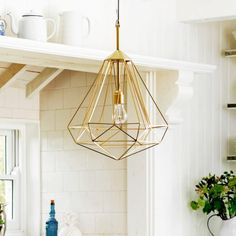 Large Diamond Brass Pendant - Chandeliers & Ceiling Lights - Lighting - Lighting & Mirrors