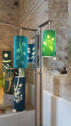 Shibori patterned lampshades by Townhill Studio.  Colourful and glowing. Different designs and colours available from the website shop.