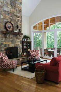 Great room from the Genova Plan 1191-D www.dongardner.com - Rustic style meets modern living in this spacious home with a full basement. #Fireplace #Living #Great