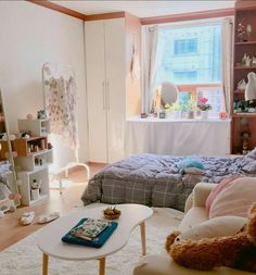 6 Creative Tips on How to Make a Small Bedroom Look Larger - Wohnung - Dorm Room Korean Bedroom Ideas, Room Ideas Bedroom, Small Room Bedroom, Bedroom Decor, Modern Bedroom, Small Bedrooms, Master Bedroom, Contemporary Bedroom, Bedroom Designs