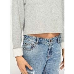 Miss Selfridge Grey Cropped Sweatshirt