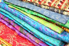 Sari Silk Fabric, Silk Sari Fabric for Silk Saree Ribbon or Upcycling 10kg For Nuno Felting, or Events , Weddings , Parties