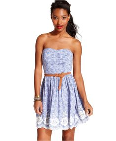 Trixxi Juniors Dress, Strapless Floral-Print Belted - Juniors Dresses - Macy's