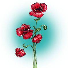 Poppies Digi Stamp in Digital images