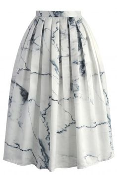 Marble Chic Printed Midi Skirt - Skirt - Bottoms - Retro, Indie and Unique Fashion