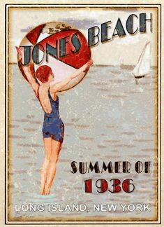 Vintage Poster - Jones Beach Long Island New York - Summer of 1936 - NYC. I have this hanging in my home office/music room. Jones Beach Long Island, Long Island Ny, Long Beach, Vancouver Island, Vintage Beach Posters, Vintage Beach Signs, Poster Vintage, Vintage Advertisements, Vintage Ads