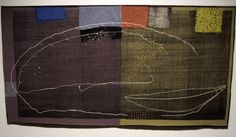 """Flying Over Salt Lakes , stitching on cotton with earth ochre, approximately 13"""" x 16"""", 2013 Dorothy Caldwell has become an icon for t..."""