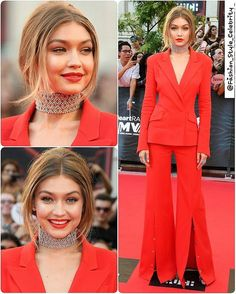 #GigiHadid in #Mugler Suit at #iheartradio Much music video awards 2016#boots #casual #fashionista #black #spring #summer #dress #queen #legsfordays #fashion #blogger #croptop #omg #love #monochrome #heels #angel #vs #victoriassecret #model #adidas #stansmith #superstar #supermodel #beauty #makeup... - Celebrity Fashion