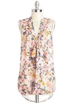 Bouquet Thanks Top - Sheer, Pink, Multi, Floral, Tie Neck, Casual, Sleeveless, Spring