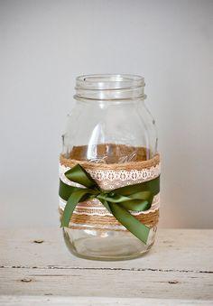 Lace and ribbon mason jar, fall shabby chic home decor, rustic fall wedding decor, Thanksgiving twine mason jar, fall wedding centerpiece on Etsy, $8.50