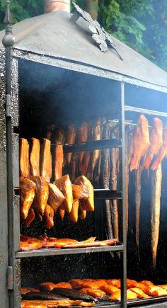 fresh smoke fishes ready to eat (Miedzyzdroje - POLAND)