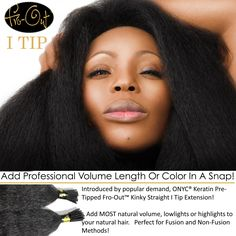 #ONYCHair Fro-Out ™ Kinky Straight I-Tips!   Have a professional install the #ONYC I-Tips from the finished style #hair collection, and instantly add more volume to your unprocessed hair.  Also a great way to add highlights without coloring your natural hair! Shop US Now>>> ONYCHair.com Shop UK Now>>> ONYCHair.uk Shop NG Now>>> ONYCHair.ng