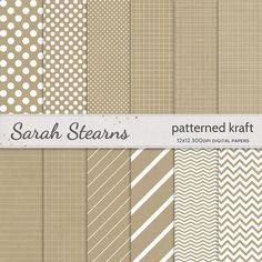 Patterned Kraft Paper Pack - Digital Scrapbooking Background Papers for Digi Scrap Art