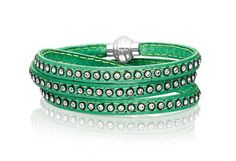 Bracelet Arezzo green leather with zirconia 57 cm.