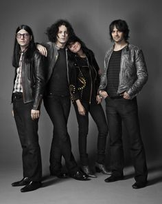 The guys/girl from a band called The Dead Weather: Jack Lawrence , Jack White, Alison Mosshart and Dean Fertita