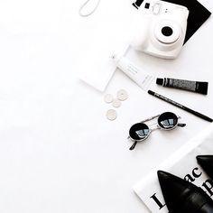 black and white flatlay.