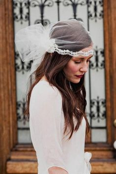 Wedding hairstyle cap veil  Tulle juliet cap veil with crystal beaded alencon lace trim and silk flower accents from Mignonne Handmade. Vintage handmade veil cap. Simple and Natural wedding hairstyle cap veil