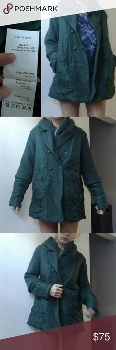 Italian couture blend puffer jacket forest green 6 Salco Italy gorgeous breath taking jacket w chic mixed puffer and wool detail... listed as rag & bone because it compares in quality and price. *not rag & bone but listed for exposure. This is an Italian 42 which is roughly a real 6/8..I wear a 2/4  (im 5'9 26w 35hip 34b in the pic) but clearly oversized is in. Beautiful blend of wool abd cashmere inner lining lace print.. from production studio. Bought for a feature film but never worn rag…