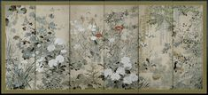 """Antique Japanese Screen c/o Erik Thomsen   Back to """"Circle of Ogata Kōrin (1658–1716) / Birds and Flowers of the Seasons"""""""