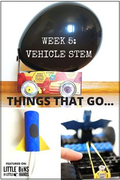 Do you have kids that love to make things go? Do you like to try out new STEM activities? We do! Check out these awesome vehicle STEM activities using balloons, rubber bands, solar power, wind power, chemical reactions, and more! Fun vehicle STEM activities for preschool, kindergarten, and early elementary level kids. Week 5 of 100 Days of STEM challenge