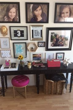 This console table is placed in a busy entry way. Everything is at the ready for a quick dash out the door because of a few stylish storage solutions! Shopping at HomeGoods we found attractive and decorative storage answers! The simple white tray is the gathering spot for the family's sunglasses. You can also use a basket under the console for dumping shoes or other bulky items. We love the pink boxes from HomeGoods! The smaller box is ideal for keys and other small items. The larger box can hid