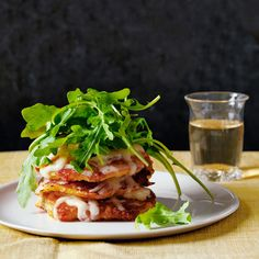 Corn Cake Stacks with Aged Cheddar and Arugula Recipe - Country Living