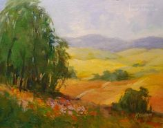 Image Detail for - . Impressionist Art, original painting by artist Karen Winters Watercolor Trees, Watercolor Landscape, Landscape Paintings, Landscapes, Abstract Landscape, Watercolor Paintings, Impressionist Landscape, California Poppy, Landscape Wallpaper