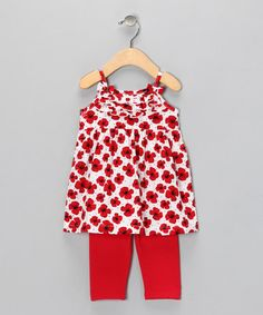 Red Flower Tunic & Capri Pants by Blow-$13.49