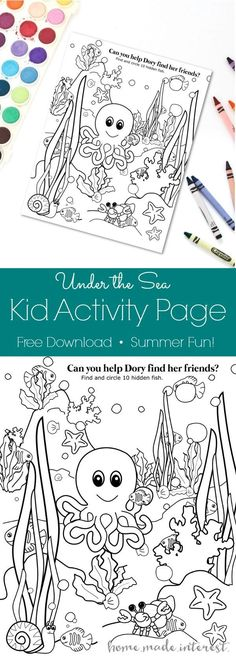 You can download this free Underwater Kid activity page and keep your kids entertained while you get lunch or dinner ready. This simple ocean kid coloring page is a great summer activity and it is perfect for road trips with the kids especially if they love Disney Pixar's Finding Dory! #Findingdelicious #ad