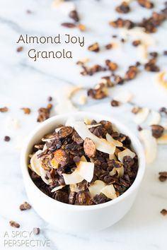 Almond Joy Homemade Granola Recipe on ASpicyPerspective.com #recipe #granola #almondjoy #chocolate