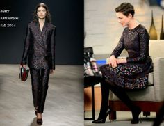 Anne Hathaway In Mary Katrantzou - 'Good Morning America'. Re-tweet and favorite it here: https://twitter.com/MyFashBlog/status/453691307106381824/photo/1