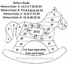 Free pattern to make an iris folded rocking horse. Iris Folding Templates, Iris Paper Folding, Iris Folding Pattern, Card Templates, Paper Pieced Quilt Patterns, Card Patterns, Origami Patterns, Kirigami, Horse Quilt