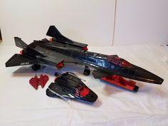 Vintage 80s GI Joe Cobra Night Raven Spy Plane Jet Vehicle Shuttle Missile Parts #Hasbro