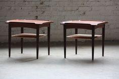Superb Poul Jensen Danish Mid Century Modern Teak Side Bunching Tables Model 29-01 for Selig (Denmark, 1960s)