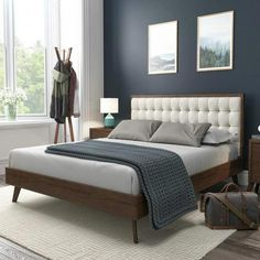 online shopping for DG Casa Soloman Mid Century Modern Tufted Upholstered Platform Bed Frame, Queen Size Beige Fabric from top store. See new offer for DG Casa Soloman Mid Century Modern Tufted Upholstered Platform Bed Frame, Queen Size Beige Fabric Platform Bed Frame, Upholstered Platform Bed, Upholstered Bed Frame, Beige Headboard, King Size Platform Bed, Bedroom Headboards, Gray Bedding, Floral Bedding, Boho Bedding