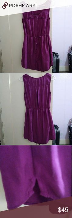 Fuschia Shift Dress In excellent condition From American Eagle. botton close front, faux pockets, elastic waist with belt. Small slits on both sides. 100% polyester. Small, true to size. American Eagle Outfitters Dresses Mini