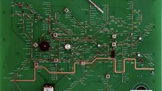 Though it might look a lot like your typical circuit board on first glance, this board designed by Yuri Suzuki actually hides the London Underground Map in plain sight. As you look closer, you'll see all the resistors and components matching up to re-create the London Tube.