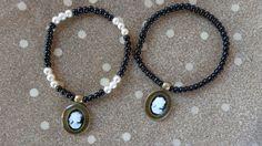 Items similar to Cameo white-black girl bracelets. Beautiful stretch bracelets with cameo, liquid glass, glitter. on Etsy Stretch Bracelets, Bangle Bracelets, Bangles, Decoupage Paper, Beaded Necklace, Glitter, Crafty, Trending Outfits, Unique Jewelry