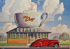 """Daily Paintworks - """"Diner"""" by Robert LaDuke"""