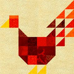 Make a patchwork chicken quilt block