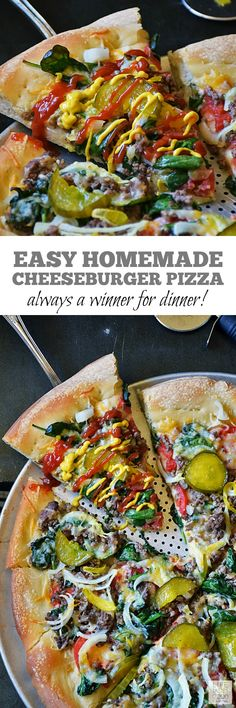 Cheeseburger Pizza Recipe   by Life Tastes Good takes everything I love about a big, juicy cheeseburger and plops it on top of a thick, delicious pizza crust for a tasty game day treat or a quick and easy dinner the whole family will love! #LTGrecipes #SundaySupper