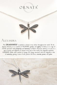 """""""Wisdom, Luck, & Victory"""" Personalized Delicate Dragonfly Necklace"""
