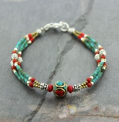 Traditional Tibetan Beaded Bracelet Vintage Beads - Dharmashop.com