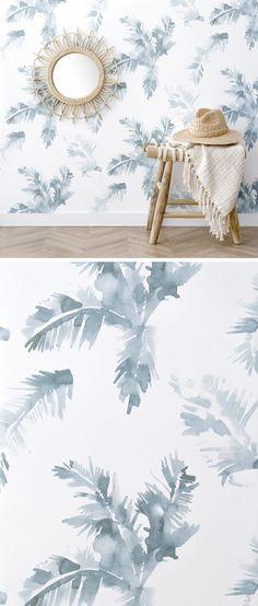 Fondo de pantalla de Palmeras Blue - Kenay Home - Novedades - Zuber Wallpaper, Moraira, Tropical Design, Blue Wallpapers, Minimalist Interior, Paper Decorations, Textured Walls, Wall Tapestry, Color Inspiration