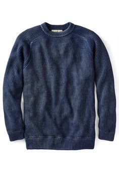 Men's Azul Verdadero Peruvian Shaker Sweater in Indigo - MensClothingUSA Indigo Dye, Unique Outfits, Cable Knit Sweaters, Knitted Fabric, Men Sweater, Leather Jacket, Knitting, Sweatshirts, Casual